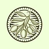 Olive branch icon with leaves in stylized frame - round cut out emblem
