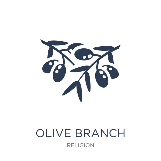 Olive Branch icon. Trendy flat vector Olive Branch icon on white background from Religion collection Olive Branch icon. Trendy flat vector Olive Branch icon on white background from Religion collection, vector illustration can be use for web and mobile, eps10 olive branch stock illustrations