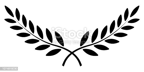 olive branch, Laurel wreath, vector winner award symbol, sign of victory and wealth in the Roman Empire