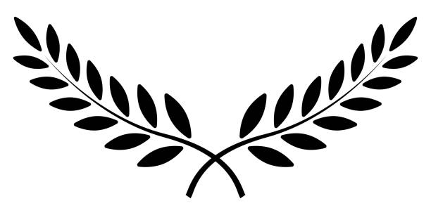 olive branch, laurel wreath, vector winner award symbol, sign victory and wealth in the roman empire - empire stock illustrations