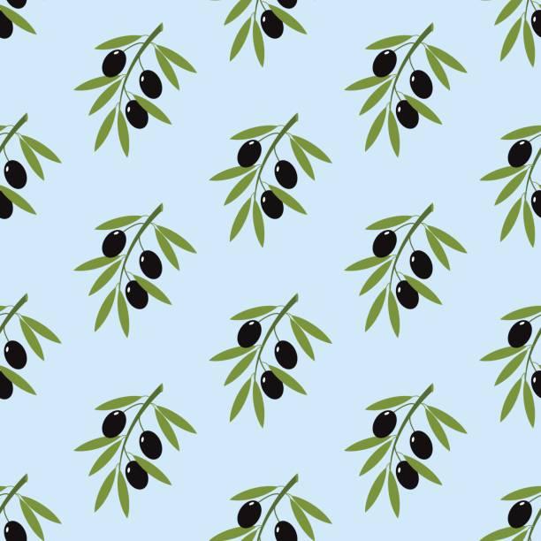 オリーブの枝のシームレス パターン ベクターアートイラスト
