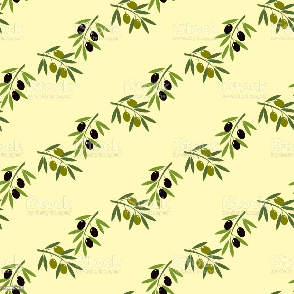 Olive branch seamless pattern - Royalty-free Berry stock vector