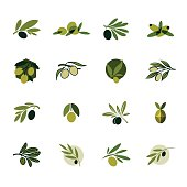 Olive branch. Set of vector design templates and icons