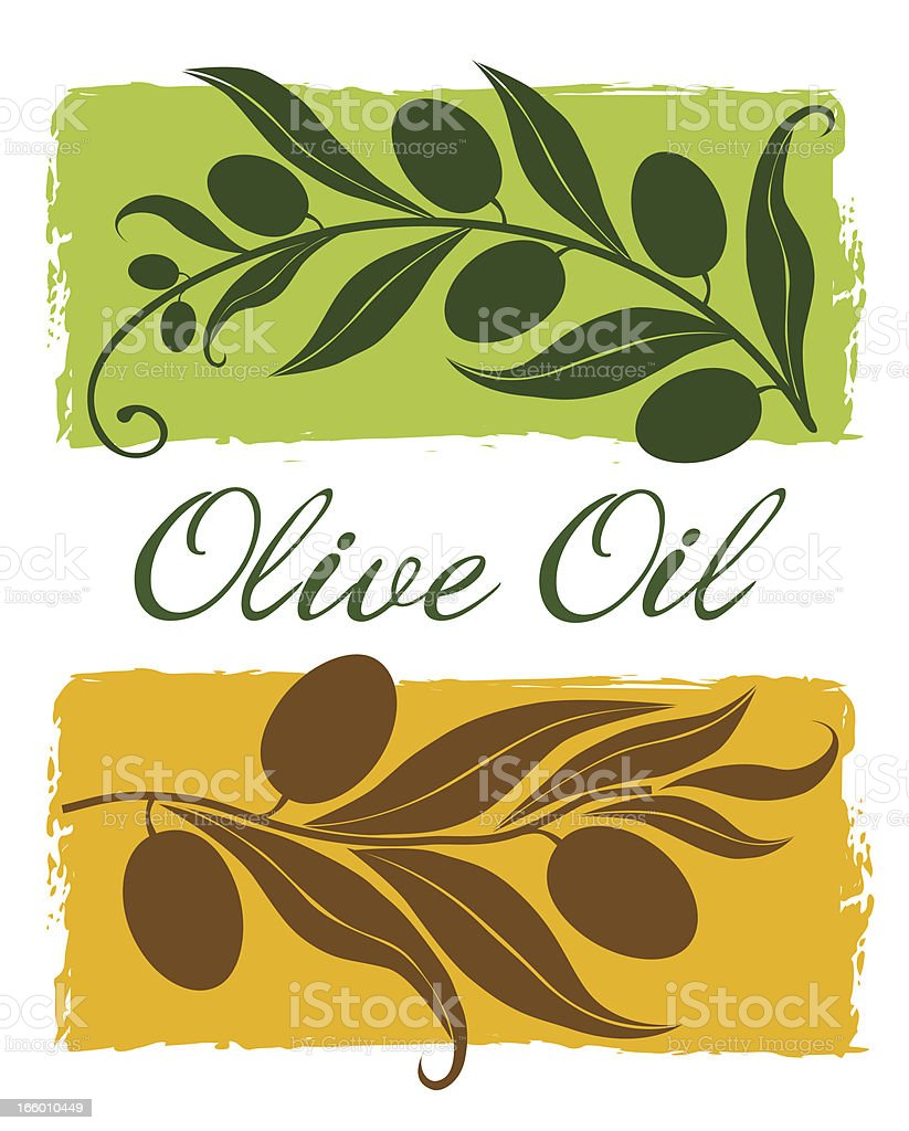 Olive Branch  Silhouette On Green and Yellow Backgrounds vector art illustration