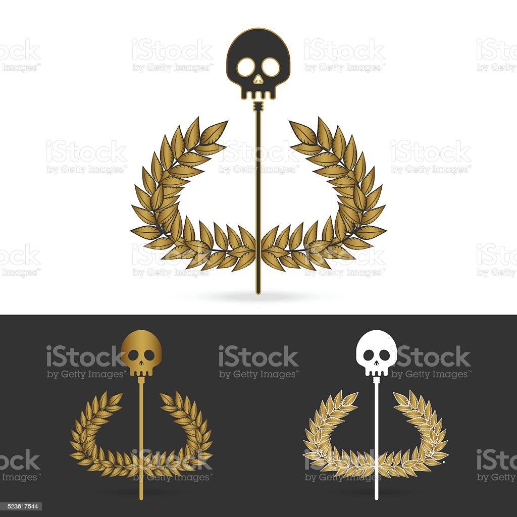 olive branch with skull symbol of greek god hades stock vector art