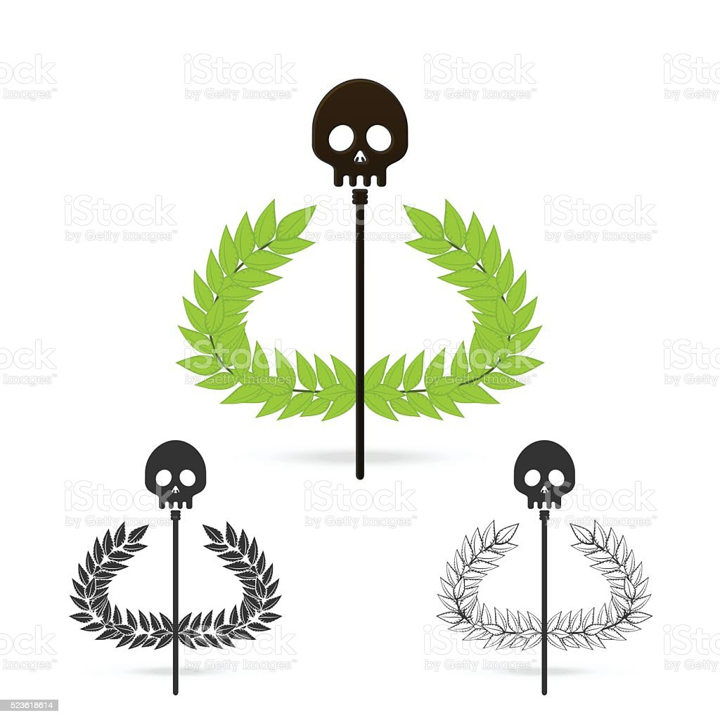 Olive Branch With Skull Symbol Of Greek God Hades Stock Vector Art