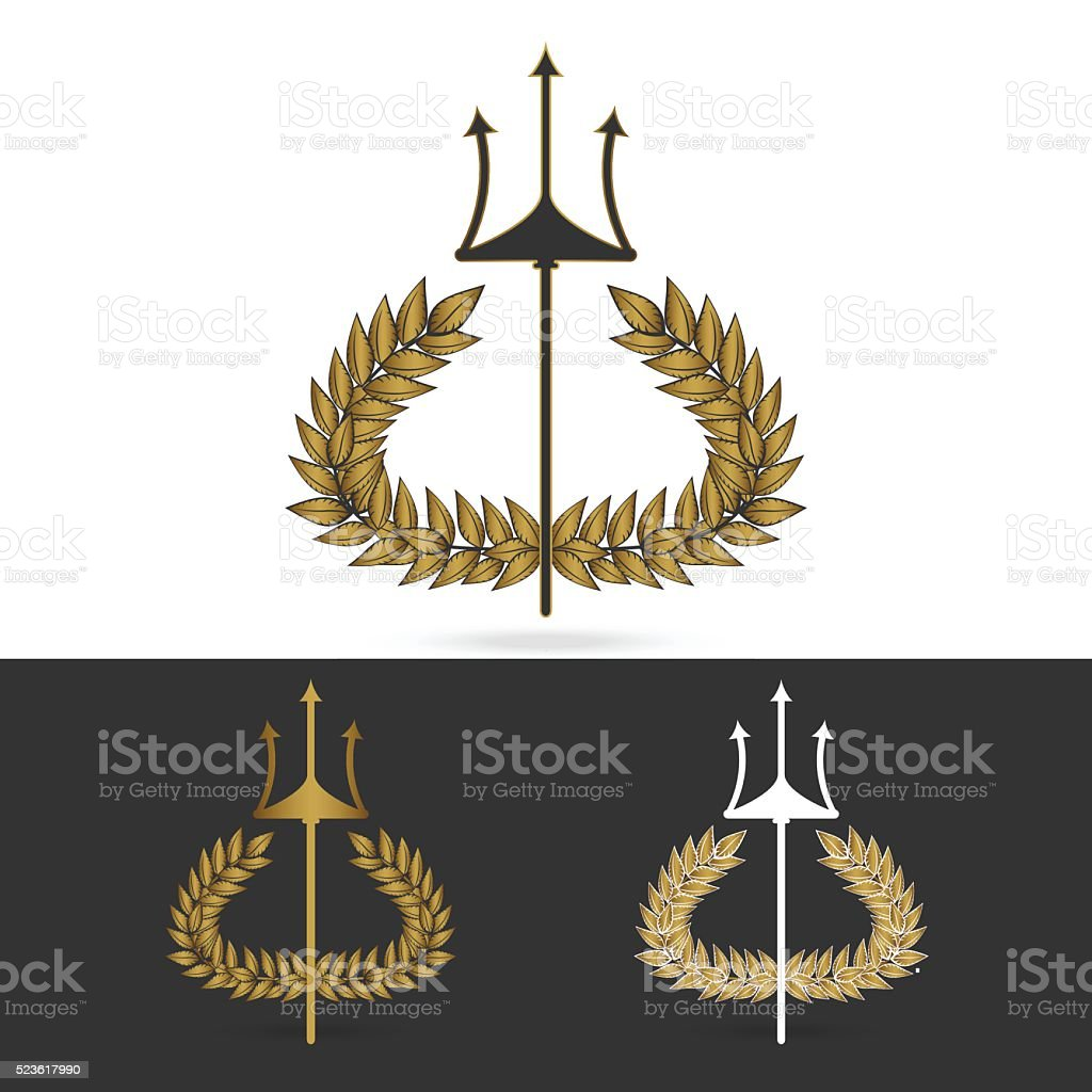 Olive Branch With Trident Symbol Of Greek God Poseidon Stock Vector