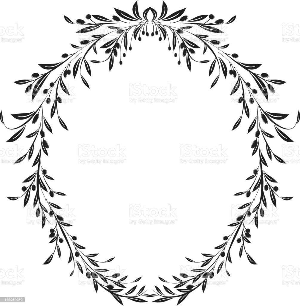 Olive Branches Oval Frame Design Element Vector Illustration vector art illustration