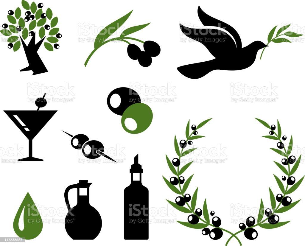 Coleção de azeitona preto e branco vector conjunto de ícones royalty free - ilustração de arte vetorial