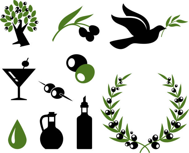 olive collection black and white royalty free vector icon set  olives stock illustrations