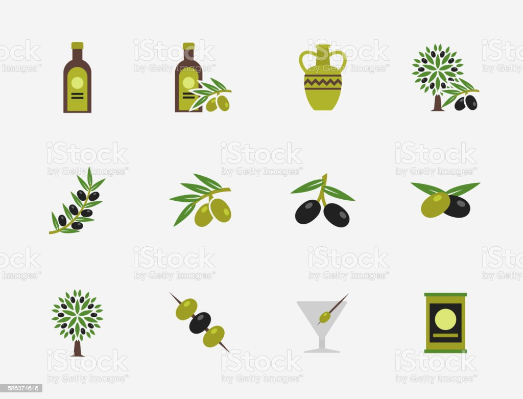 Olive flat vector icons set
