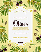 Olive frame background with olive tree symbols cartoon vector illustration