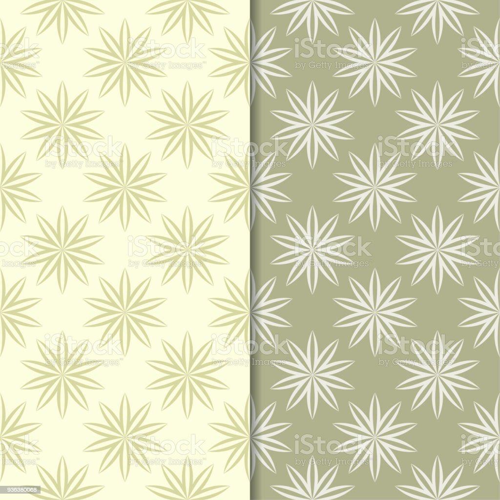 Origens Florais Verde Oliva E Bege. Conjunto De Padrões Sem Emenda  Ilustração De Origens Florais