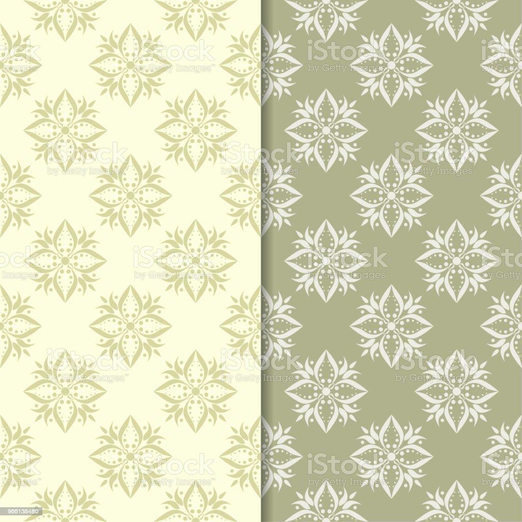 Oliv grön och beige blommig bakgrund. Uppsättning sömlösa mönster - Royaltyfri Abstrakt vektorgrafik