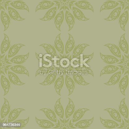 Olive Green And Gray Floral Seamless Pattern Stock Vector Art & More Images of Abstract 964736344