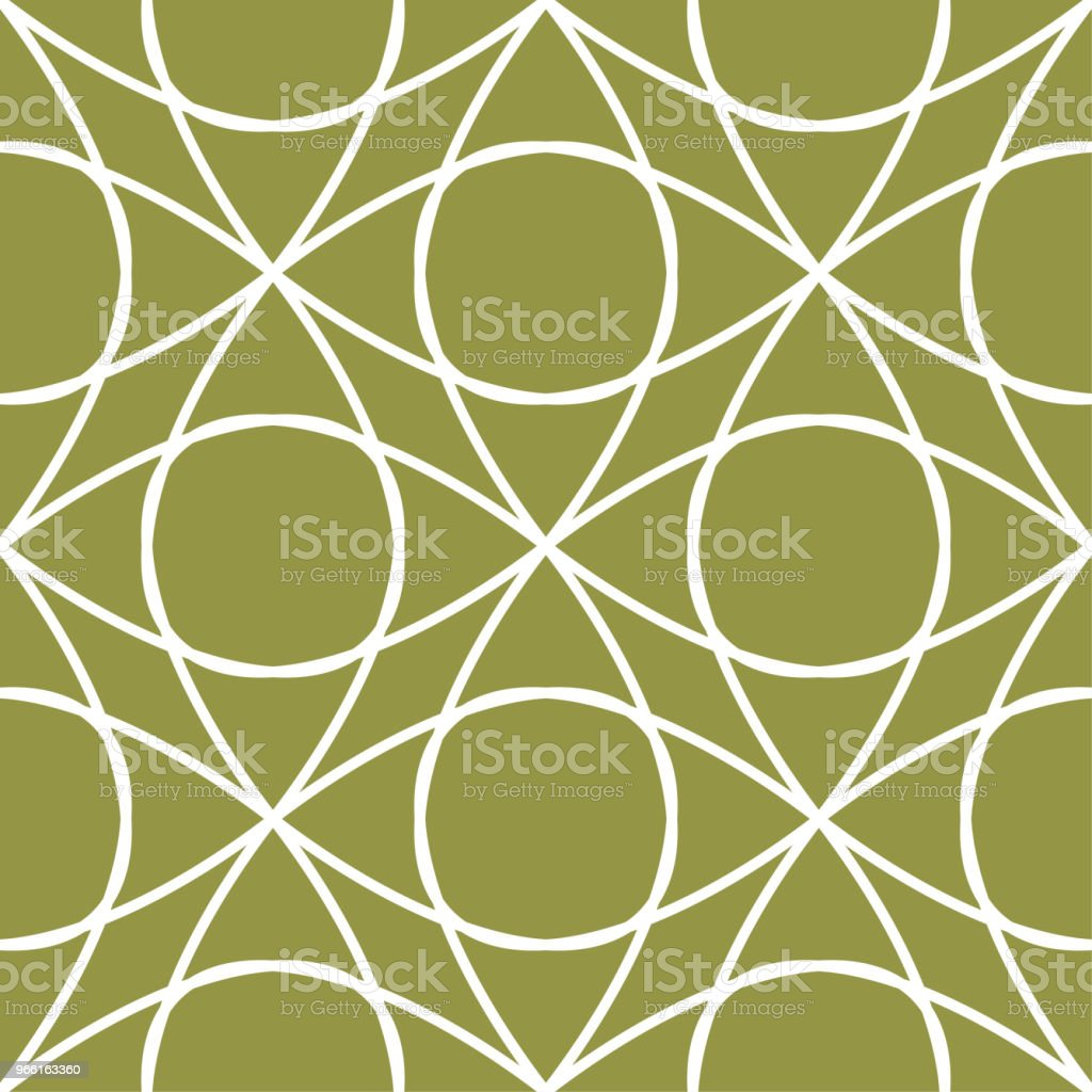 Olive green and white geometric ornament. Seamless pattern - Royalty-free Abstract stock vector