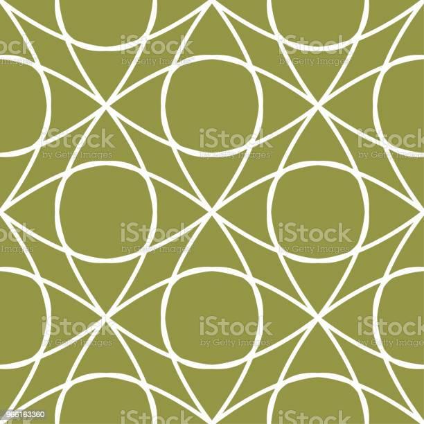 Olivgrönt Och Vitt Geometriska Prydnad Seamless Mönster-vektorgrafik och fler bilder på Abstrakt