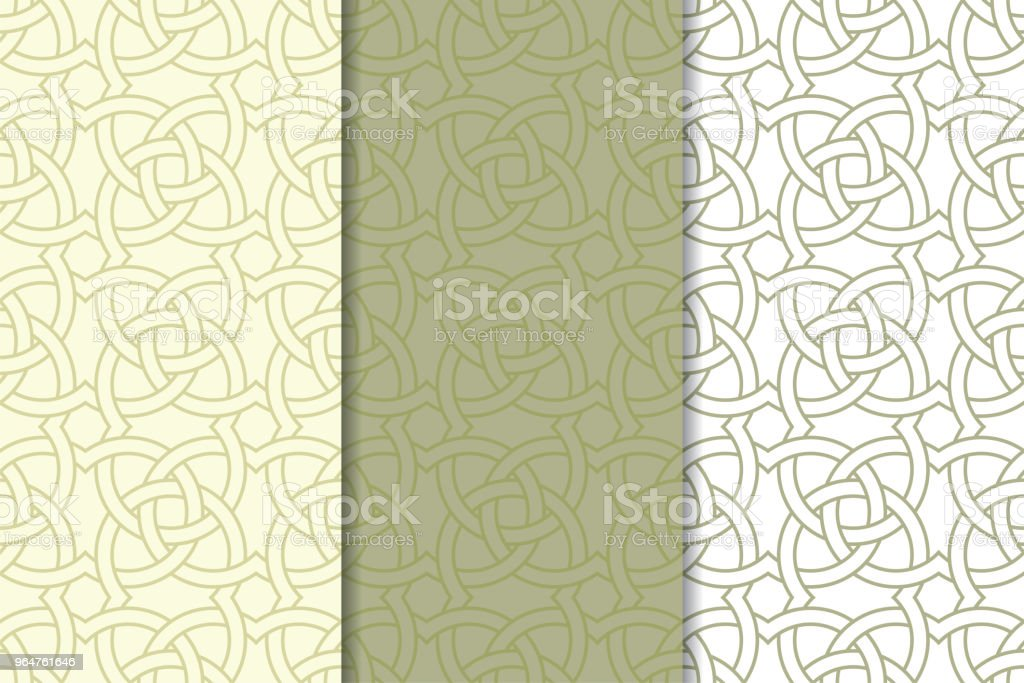 Olive green and white geometric ornaments. Set of seamless patterns royalty-free olive green and white geometric ornaments set of seamless patterns stock vector art & more images of abstract