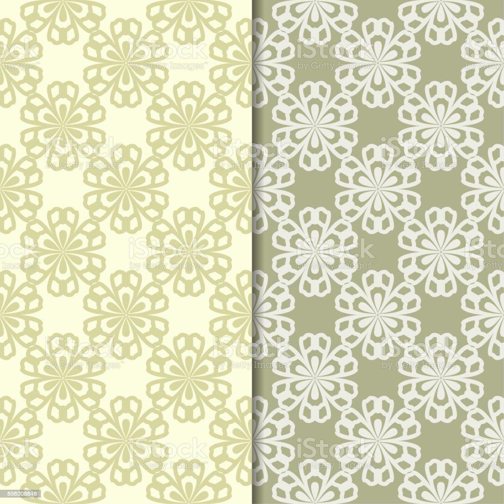 Olive green floral backgrounds. Set of seamless patterns - Векторная графика Абстрактный роялти-фри