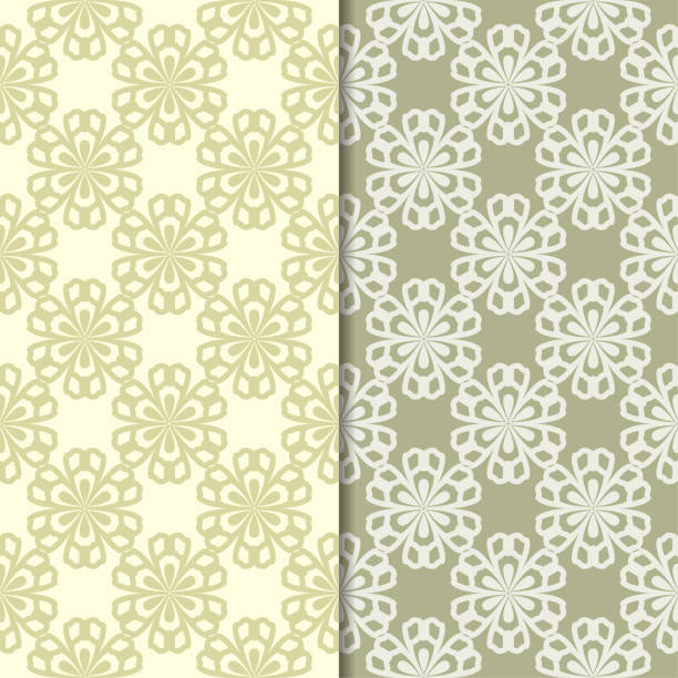 Bекторная иллюстрация Olive green floral backgrounds. Set of seamless patterns