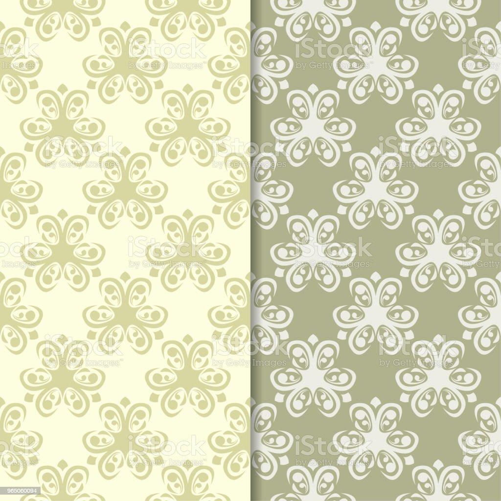 Olive green floral backgrounds. Set of seamless patterns olive green floral backgrounds set of seamless patterns - stockowe grafiki wektorowe i więcej obrazów abstrakcja royalty-free