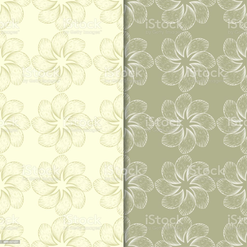Olive green floral backgrounds. Set of seamless patterns - Royalty-free Abstract stock vector