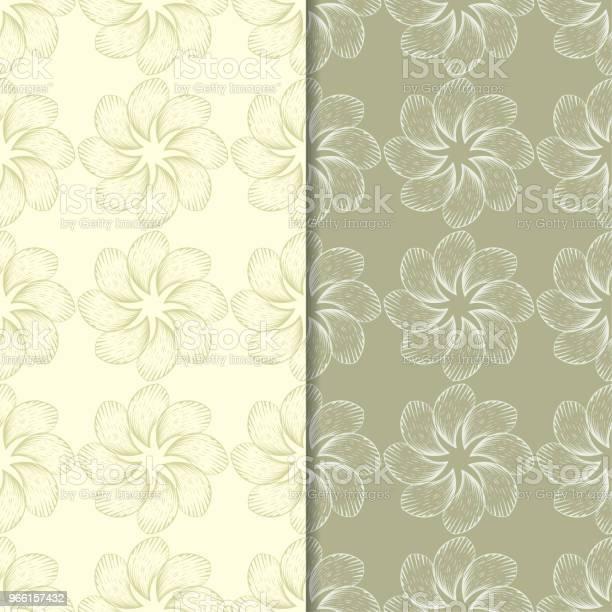 Oliv Grön Blommig Bakgrund Uppsättning Sömlösa Mönster-vektorgrafik och fler bilder på Abstrakt