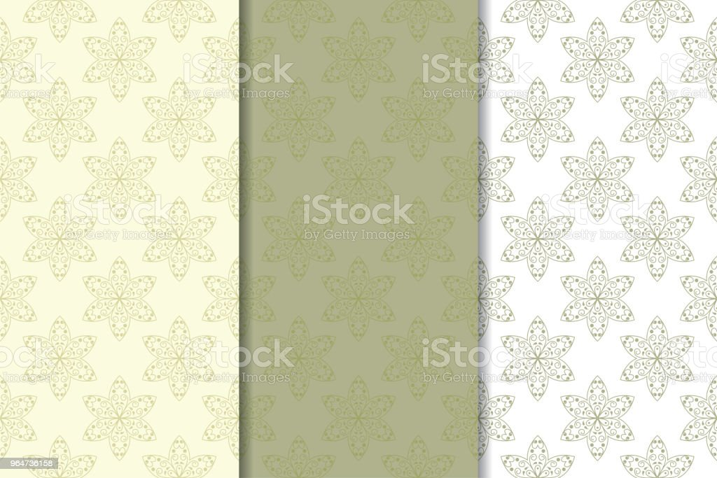 Olive green floral designs. Set of seamless patterns royalty-free olive green floral designs set of seamless patterns stock vector art & more images of abstract