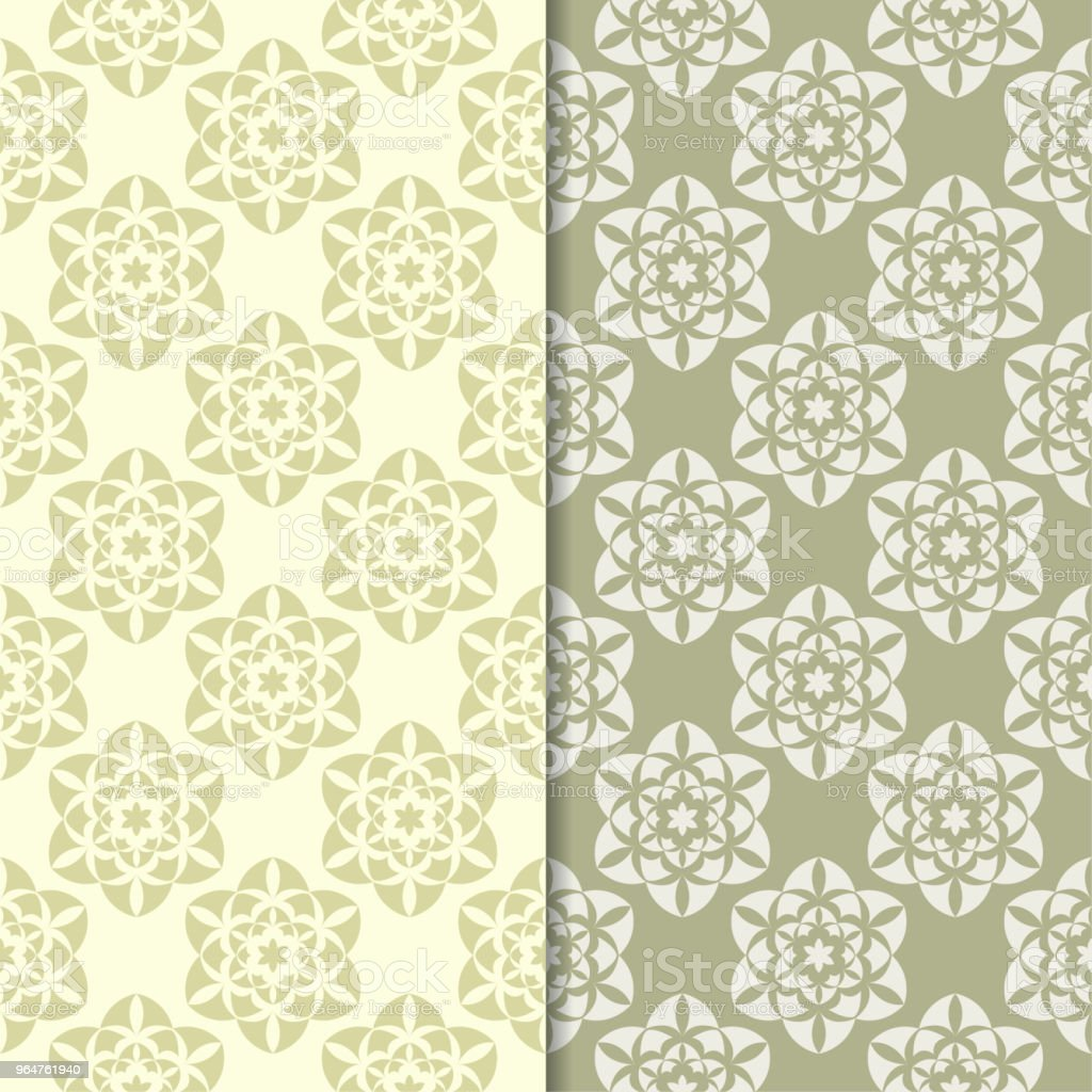 Olive green floral ornamental backgrounds. Set of seamless patterns royalty-free olive green floral ornamental backgrounds set of seamless patterns stock vector art & more images of abstract