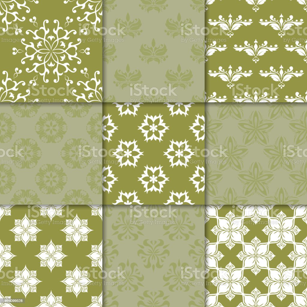 Olive green floral ornaments. Collection of seamless patterns royalty-free olive green floral ornaments collection of seamless patterns stock vector art & more images of abstract