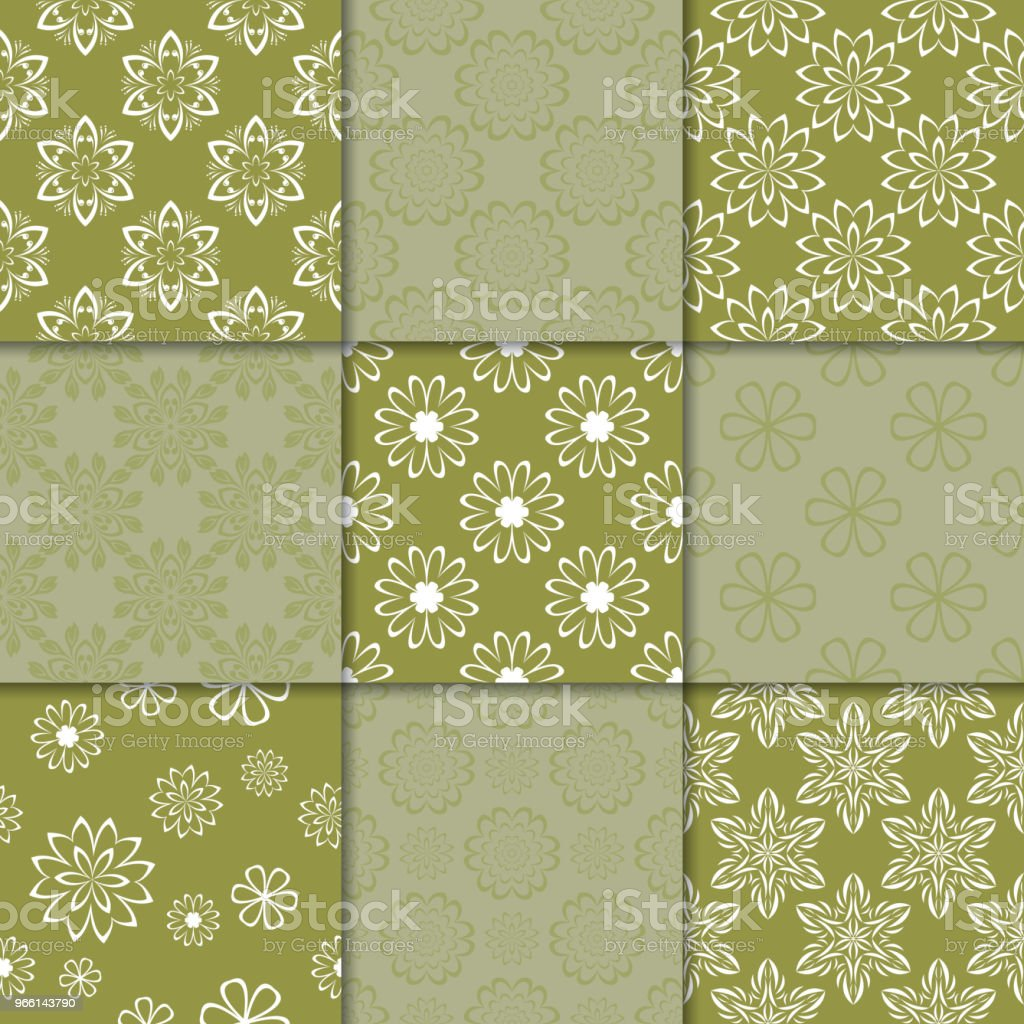 Olive green floral ornaments. Collection of seamless patterns - Векторная графика Абстрактный роялти-фри