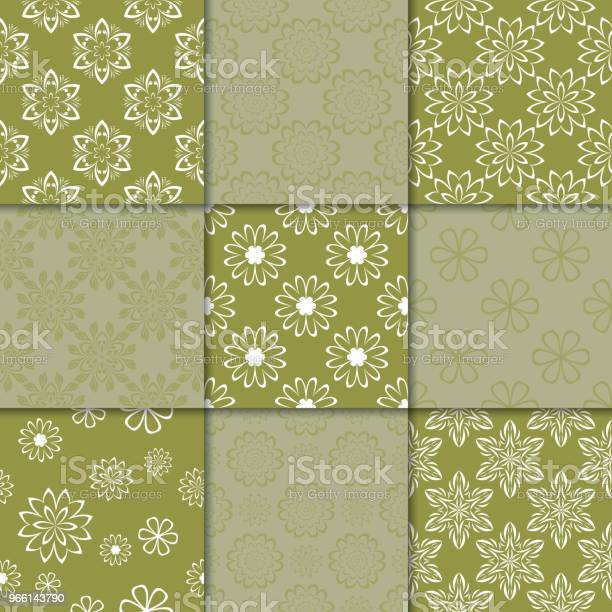 Olive Green Floral Ornaments Collection Of Seamless Patterns — стоковая векторная графика и другие изображения на тему Абстрактный