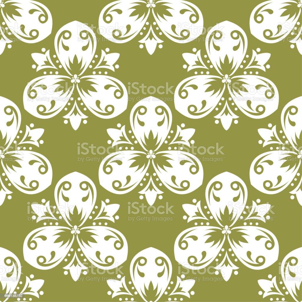 Olive green floral seamless pattern - Векторная графика Абстрактный роялти-фри
