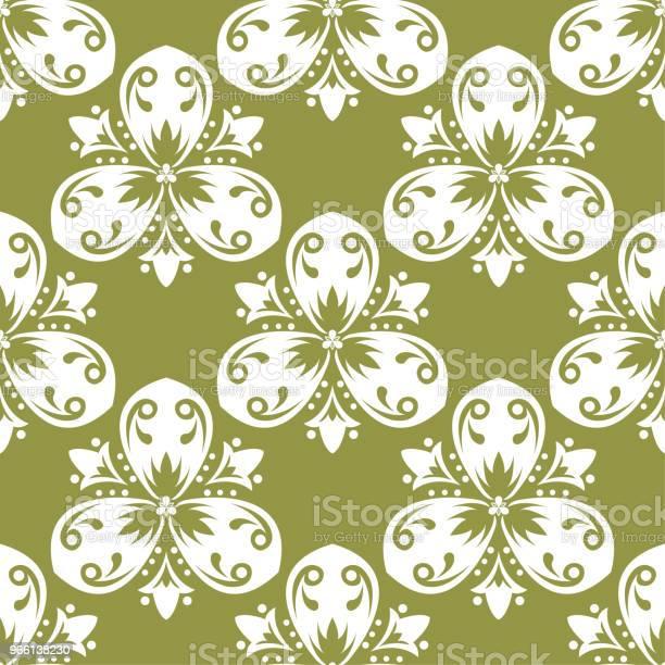 Olive Green Floral Seamless Pattern — стоковая векторная графика и другие изображения на тему Абстрактный