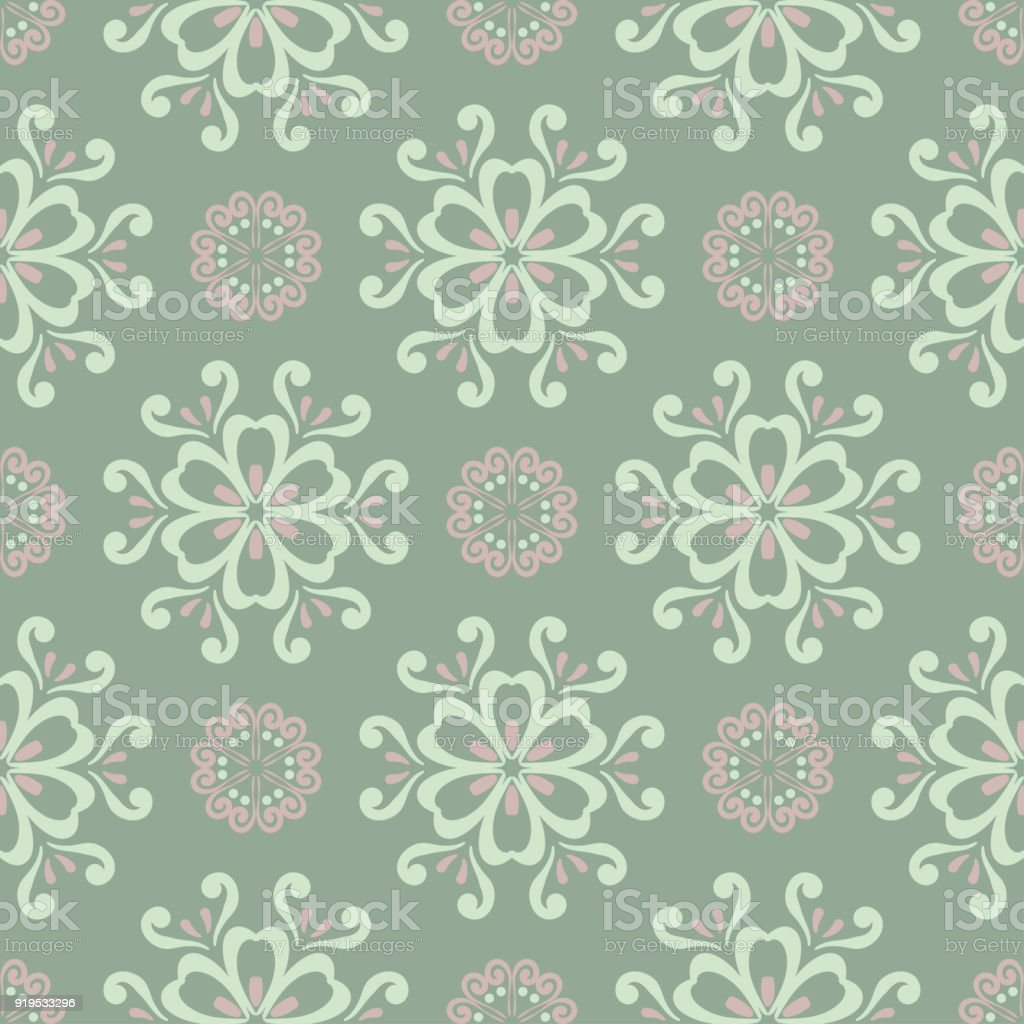 Olive Green Floral Seamless Pattern With Pale Pink Elements