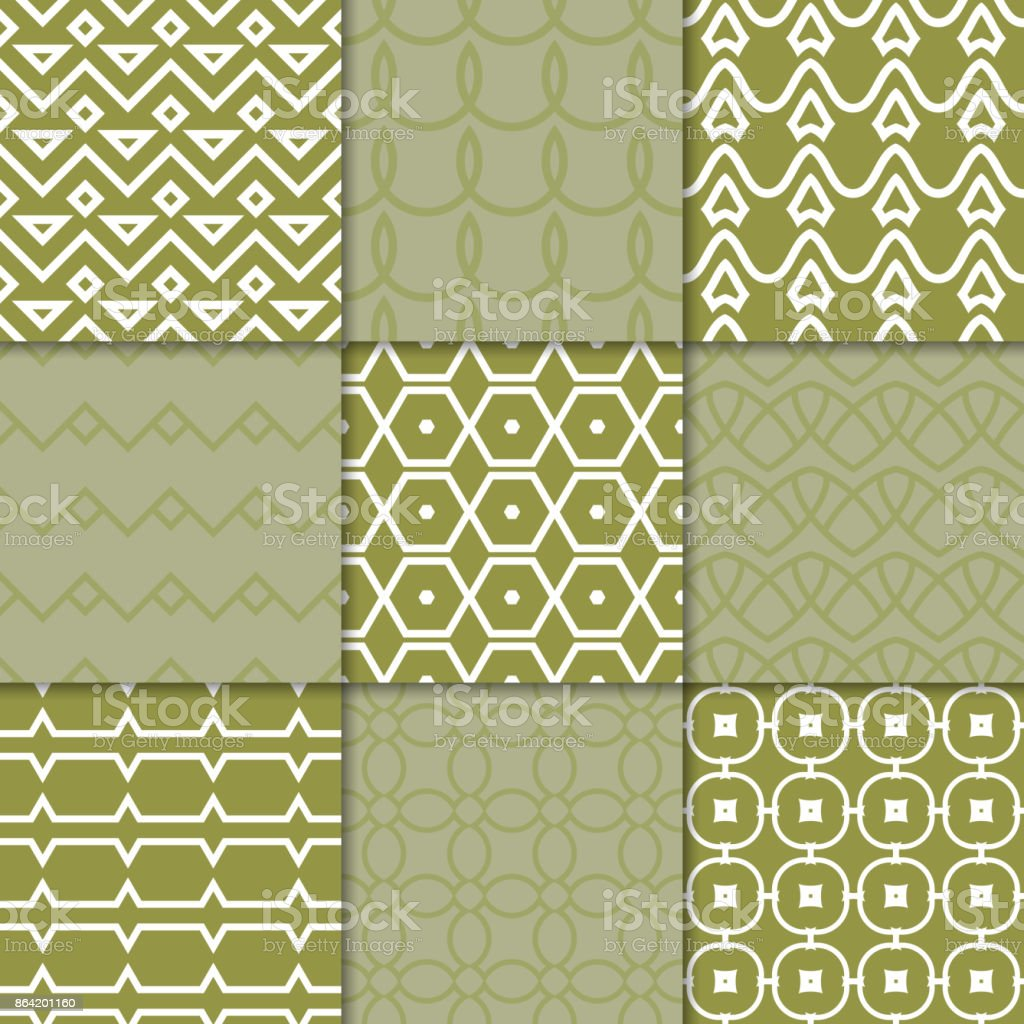 Olive green geometric ornaments. Collection of seamless patterns royalty-free olive green geometric ornaments collection of seamless patterns stock vector art & more images of abstract