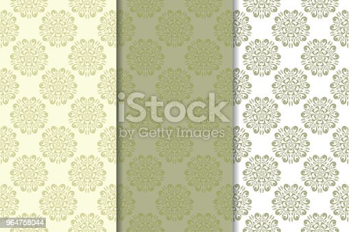 Olive Green Set Of Floral Ornaments Seamless Patterns Stock Vector Art & More Images of Abstract