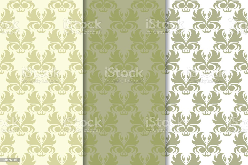 Olive green set of floral ornaments. Seamless patterns royalty-free olive green set of floral ornaments seamless patterns stock vector art & more images of abstract