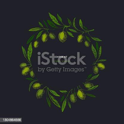 istock Olive kotinos. Vintage wreath, vector symbol. Art 1304864556