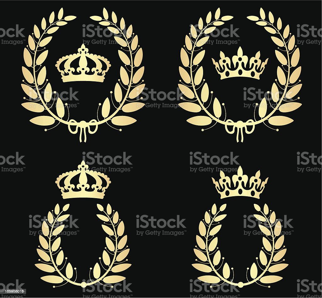 Olive Laurels With Crowns royalty-free stock vector art