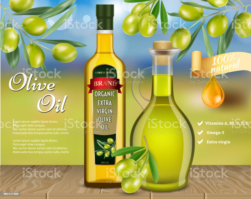Olive Oil Advertising Vector Realistic Template Stock Vector Art ...