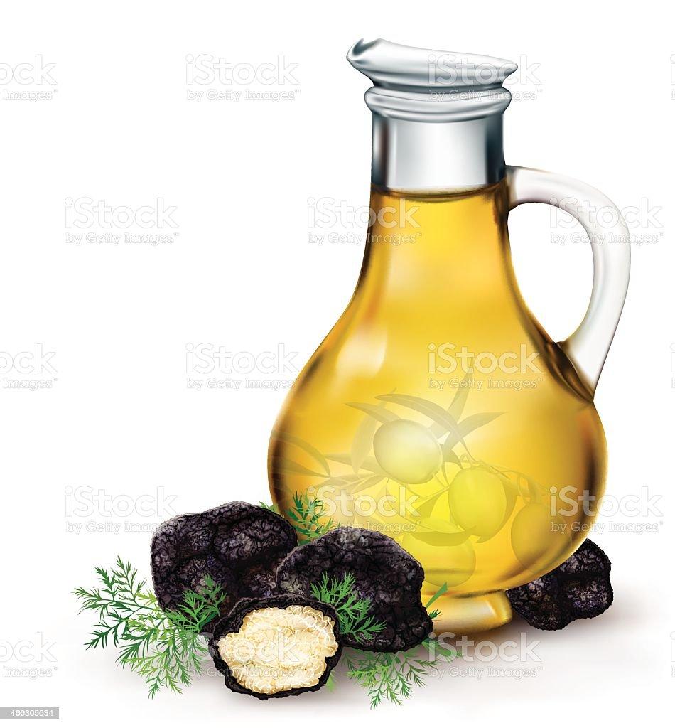 olive oil and black truffle vector art illustration