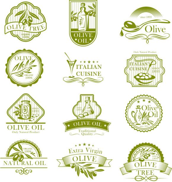 olivenöl und italienische küche oliven vektor-icons - dressing stock-grafiken, -clipart, -cartoons und -symbole