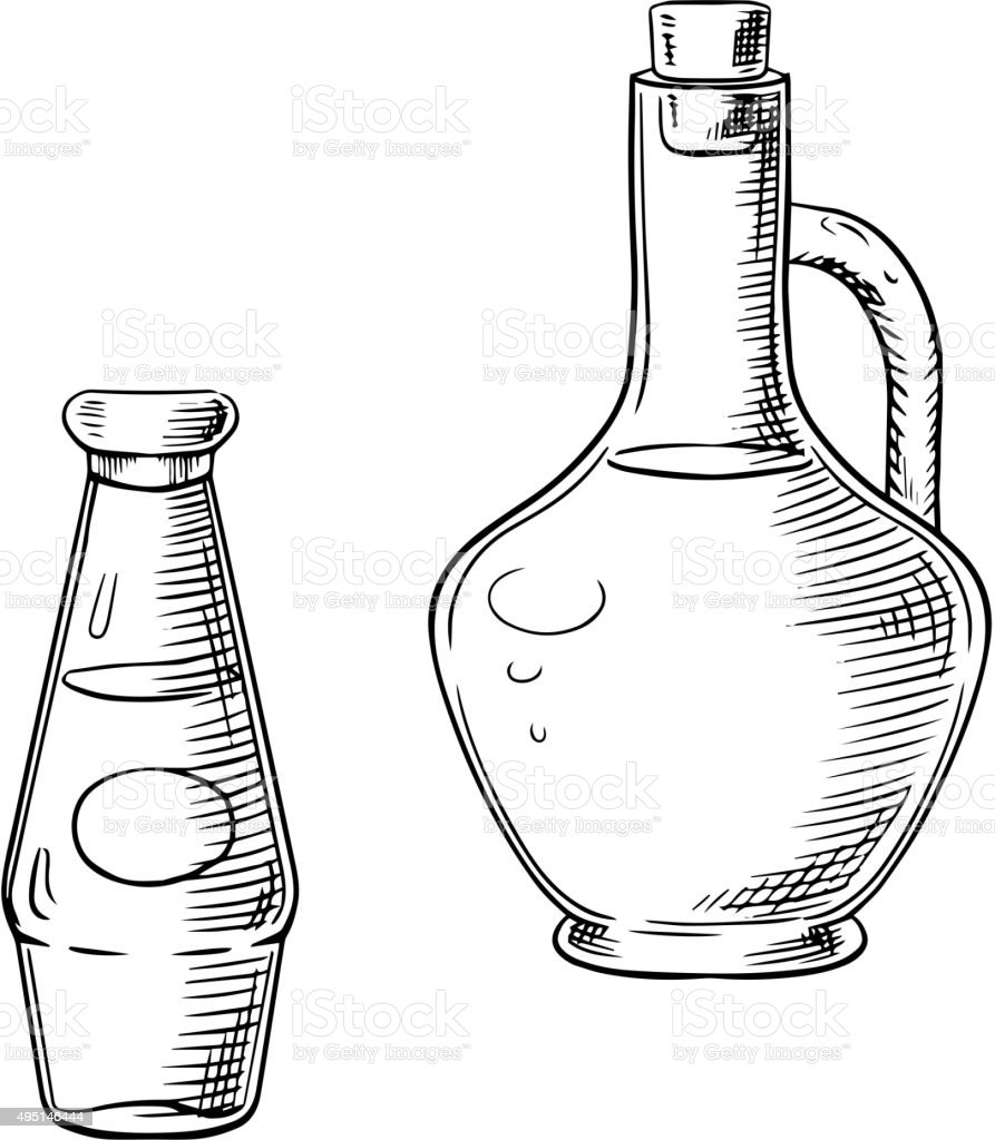 Olive oil and tomato sauce in glass bottles vector art illustration