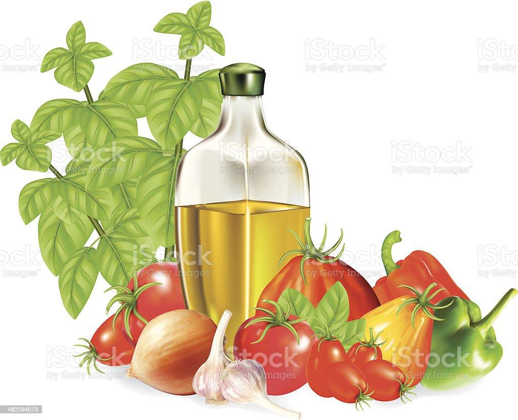 Olive Oil and Vegetables vector art illustration