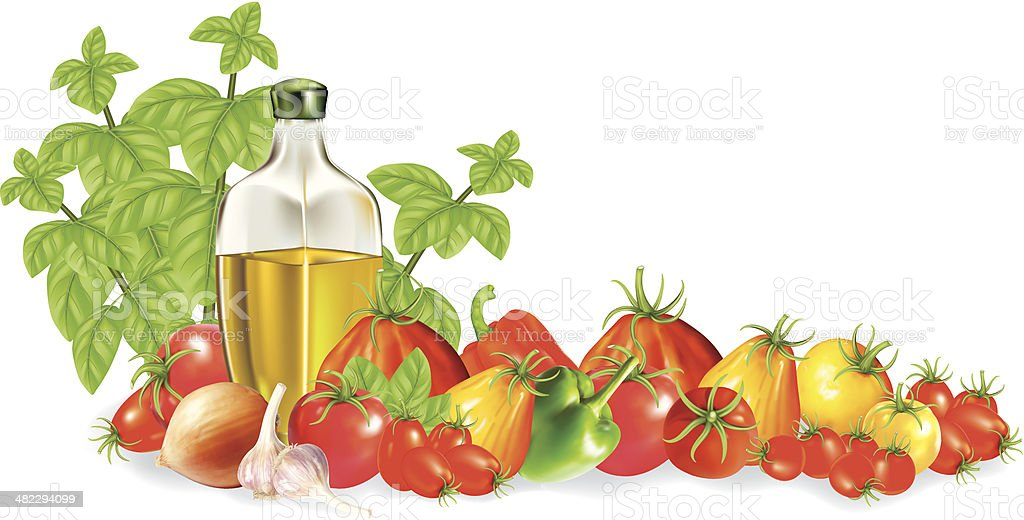Olive Oil and Vegetables vector art illustration