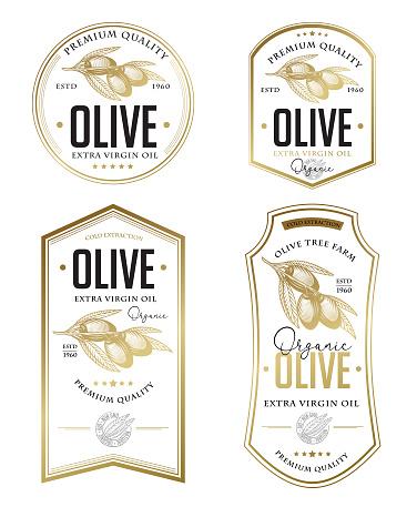 Olive oil badge label design set.