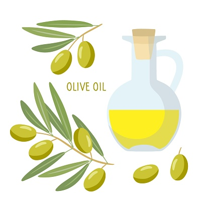 Olive Oil Bottle and olive branch. Overhead view of green branch with berries and yellow oil tank. Vegetable for Mediterranean or vegan diet. Flat design isolated on white background.