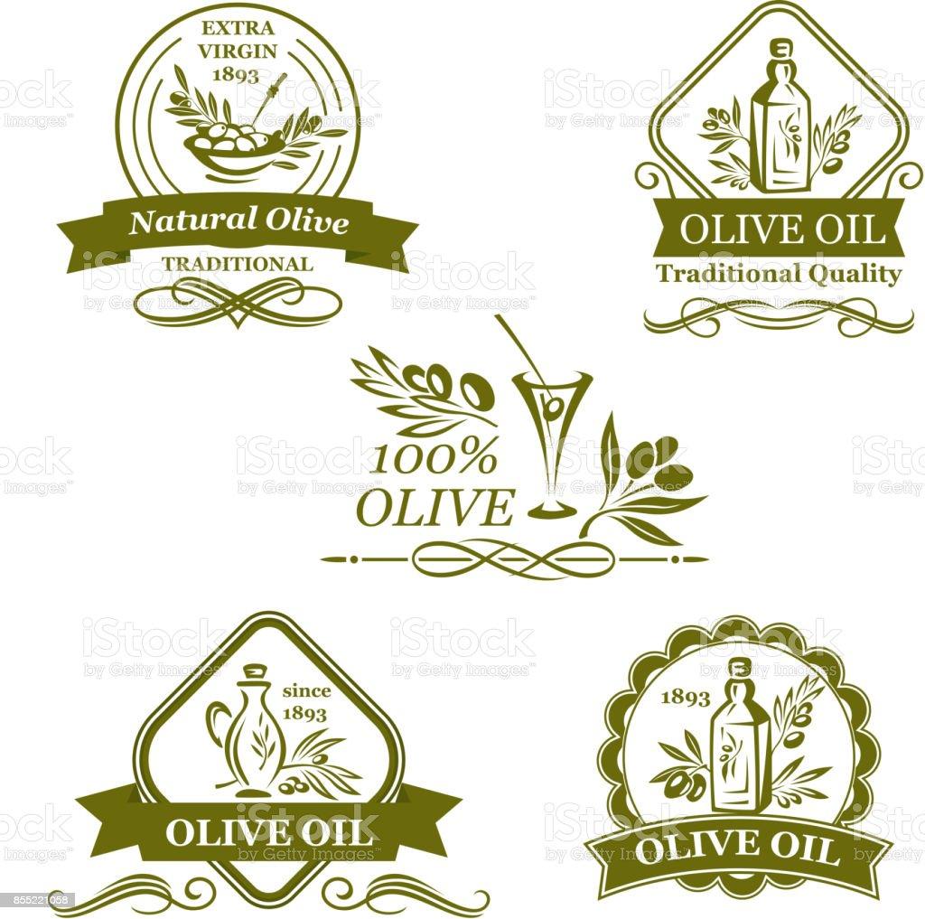 Olive oil bottle and olives vector icons - ilustração de arte vetorial