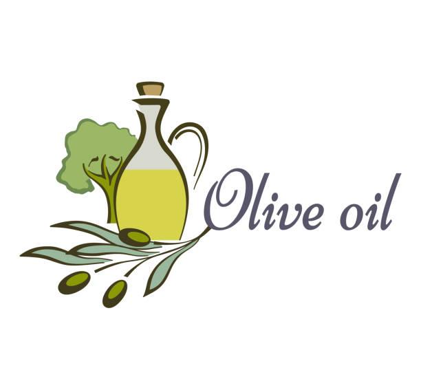 olivenöl-flasche und produkt-etiketten-templates. vektor-icons von grünen oliven zweig und natürliche bio olivenöl für den hofladen oder markt, koch- und kosmetische oder pharmazeutische industrie. - dressing stock-grafiken, -clipart, -cartoons und -symbole